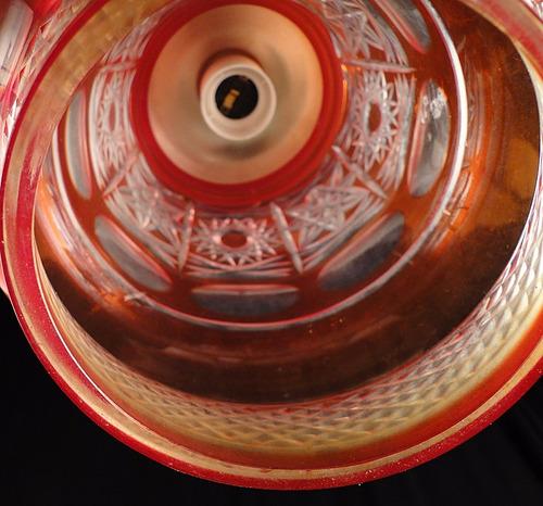 antigua araña colgante vidrio tallado color rubí y platil