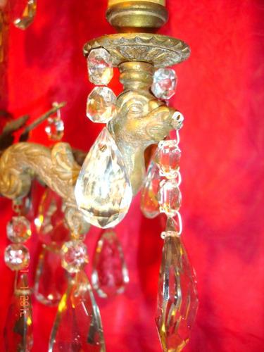 antigua araña de bronce muy trabajado con caireles 5 lucesp