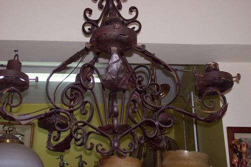 antigua araña de hierro forjado 5 luces funcionando