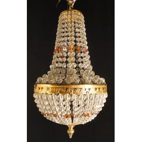 Antigua Araña Francesa Estilo Imperio Bronce Botones Vidrio