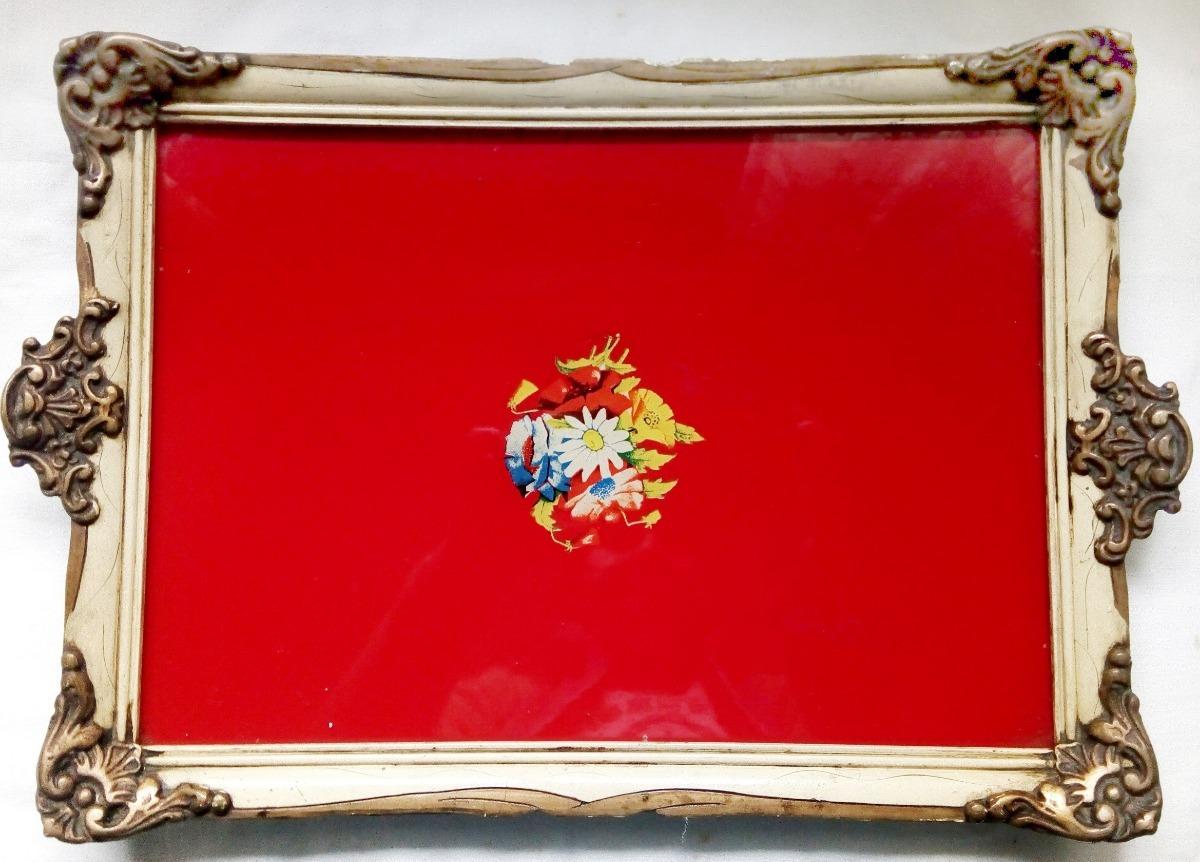 Antigua Bandeja Cuadro Marco Francés - 37 X 27 Cm - Años 50 ...