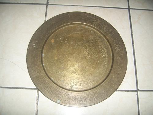 antigua bandeja de bronce