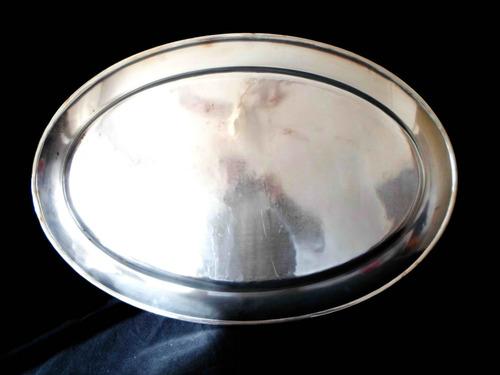 antigua bandeja de gran tamaño en metal blanco inoxidable 1