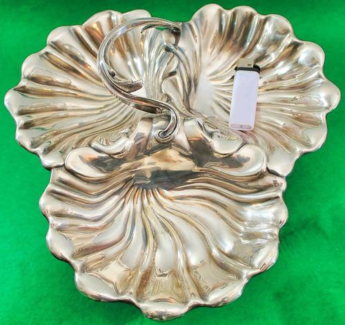 antigua bandeja inglesa elkington forma conchas baño plata