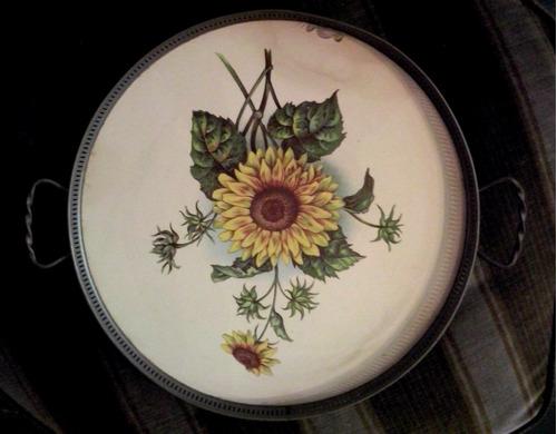 antigua bandeja redonda mayolica girasol pintada a mano
