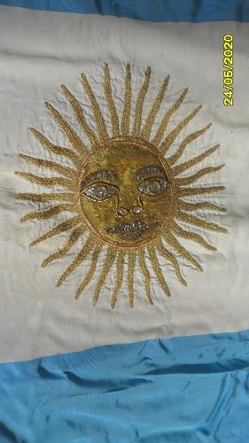 antigua bandera argentina 86 x 136 hilos dorado oro ?