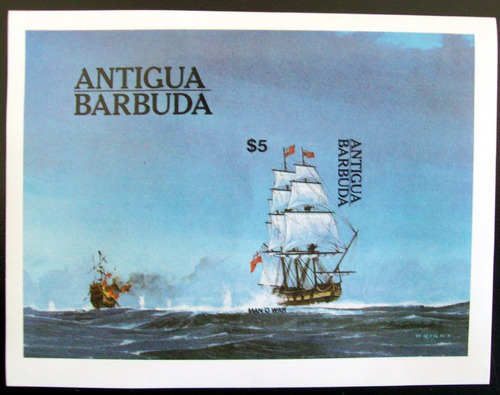 antigua & barbuda, barcos bloque sin dentar 1984 mint l5637