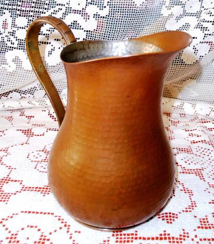 antigua bella gran jarra auténtico cobre martelé asa bronce