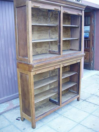 antigua biblioteca del correo tipo thompson de roble
