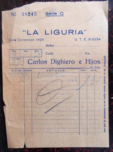 antigua boleta de compra de confiteria la liguria año 1936