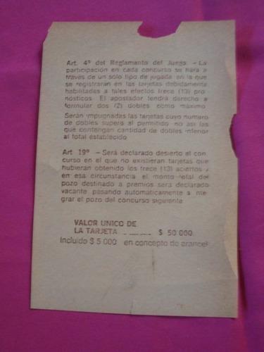 antigua boleta de prode concurso n° 509 30 abril 1983