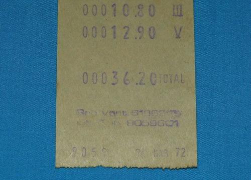 antigua boleta supermercado super market 5 lima marzo 1972