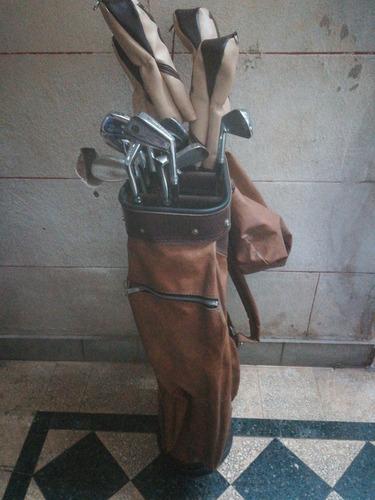 antigua bolsa de palos de golf de cuero con palos pga impeca
