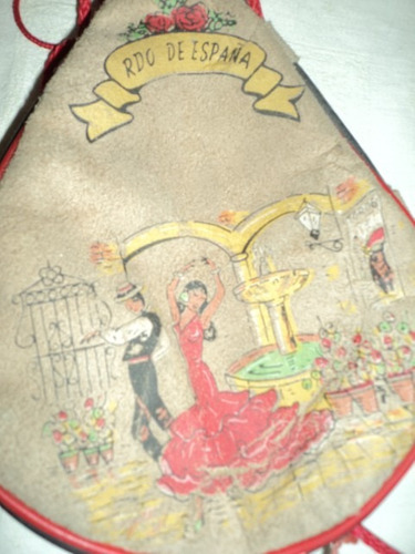 antigua bota de vino española nº 1 con pareja de bailarines