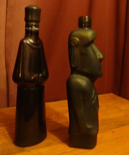 antigua botella  con forma de monje - color ambar-