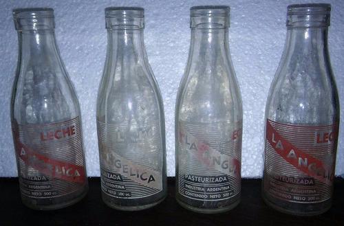 antigua botella de leche  la angelica  lote x 4 en la plata