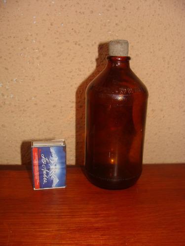 antigua botella medicamentos color ambar.- mide 15 cms.