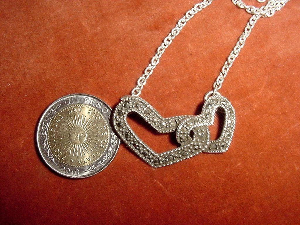 09881d824ab2 antigua cadena plata 925 colgante dos corazones marquesitas. Cargando zoom.