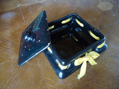 antigua caja alhajero despojador cerámica retro vintage