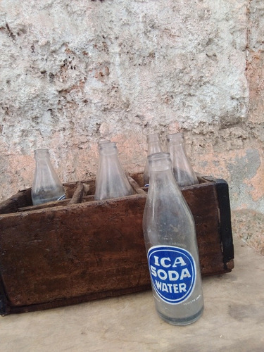 antigua caja de botellas ica soda
