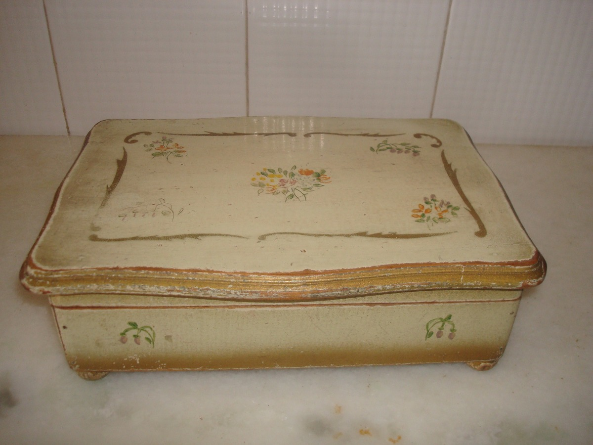 Antigua caja en madera con tapa y bisagritas pintura vieja - Caja madera antigua ...