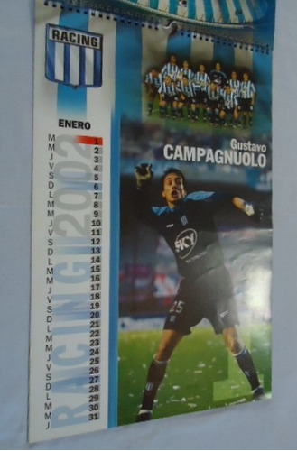 antigua calendario 2002 - racing campeon apertura 2001