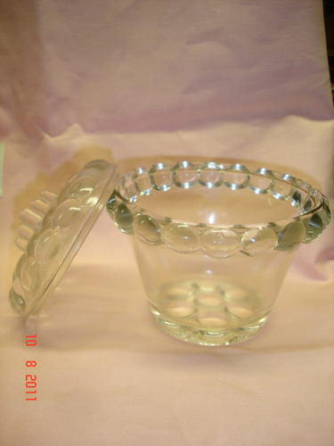 antigua caramelera de vidrio con relieve dec vintage (3566f)