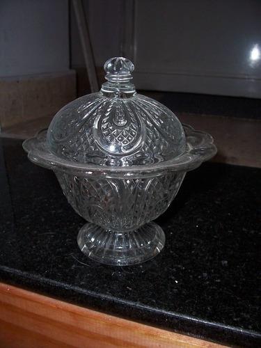 antigua caramelera de vidrio tallado