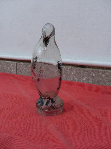 antigua caramelera pinguino vidrio con rosca