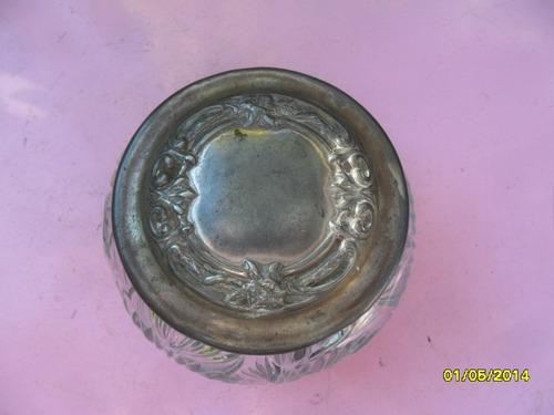antigua  caramelera tipo bombonera vidrio labrado tapa metal