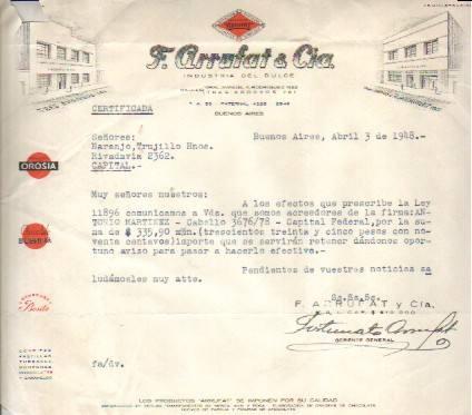 antigua carta arrufat & cia industria del dulce