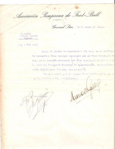 antigua carta asocicion pampeana de futbol  general pico1926
