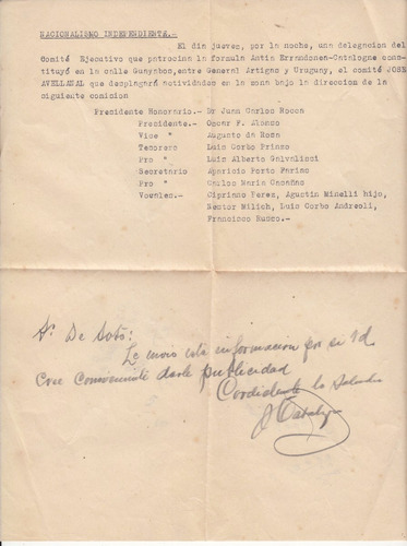 antigua carta sobre comite partido nacional independiente