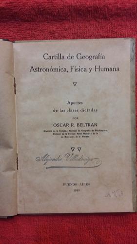 antigua cartilla de geografia - oscar beltran - año 1919