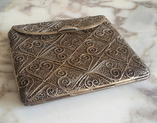 antigua cigarrera filigrana de plata ormolu (baño de oro)