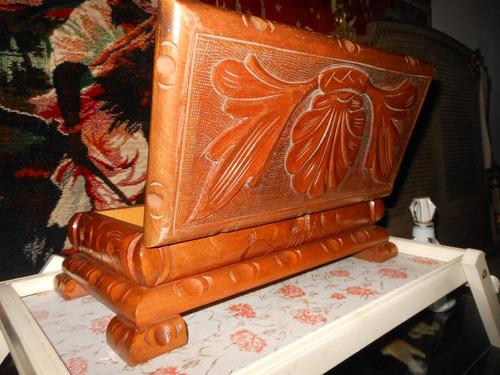 antigua clarazul. caja de madera tallada, japonesa