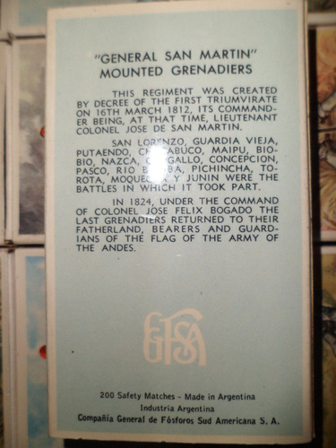antigua coleccion de fosforos uniformes militares argentinos