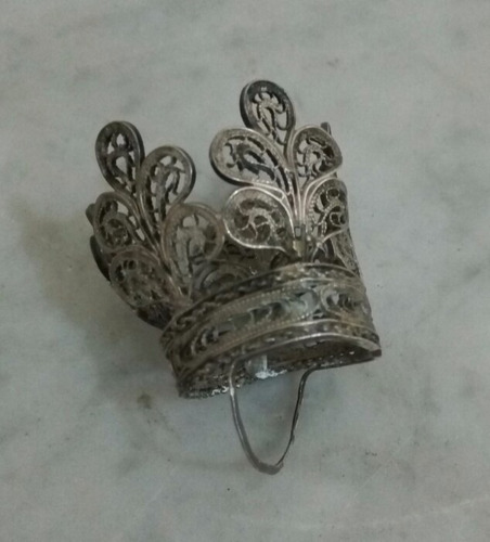 antigua corona filigrana plata  probada colonial perf estado