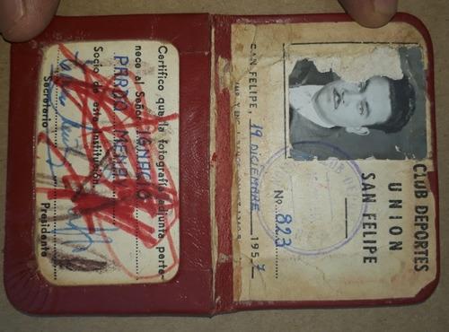 antigua credencial club deportes union san felipe año: 1957.