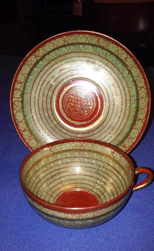 antigua duo de te  porcelana japonesa sello rojo - oro