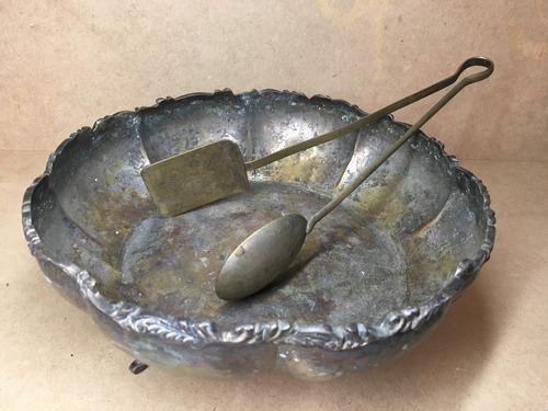antigua ensaladera frutero de bronce coleccionistas