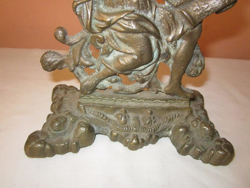 antigua escultura europea en fino bronce macizo labrado 1900