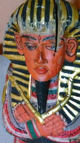 antigua escultura madera faraon ejipcio tallada pintada mano