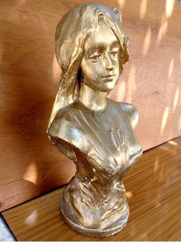 antigua escultura mujer color oro de yeso macizo, 38cm alto