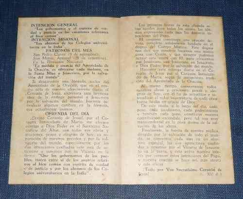 antigua estampa intención apostolado de la oración lima 1957