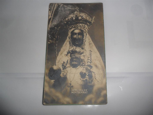 antigua estampita religiosa ntra sra de montserrat virgen
