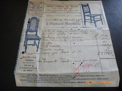 antigua factura fabrica de sillas la sin rival 1927