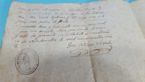 antigua fe de bautismo de 1920 -españa con sello fiscal