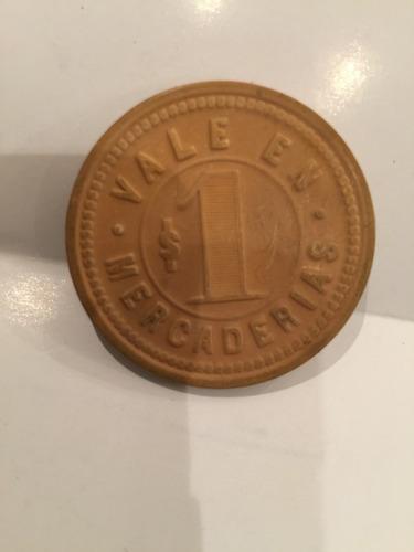 antigua ficha compañía salitres la americana $1 ocre 40 mm.