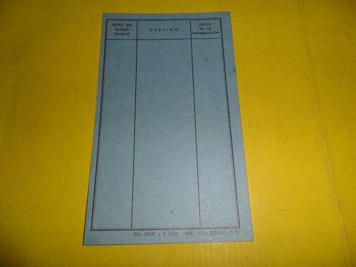 antigua ficha ministerio educacion año 1953 documento carton
